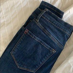 dark wash skinny jeans, high waisted